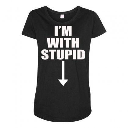 I'm With Stupid (3) Maternity Scoop Neck T-shirt Designed By Hezz Art