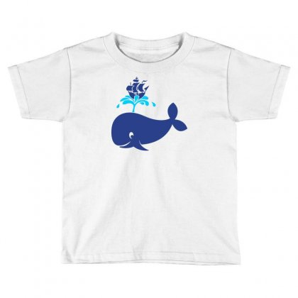 Whale With Boat On Water Fountain Toddler T-shirt Designed By Marla_arts