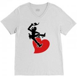 cowboy riding a wild heart V-Neck Tee   Artistshot