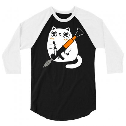Cuddly Combat Cat 3/4 Sleeve Shirt Designed By Marla_arts