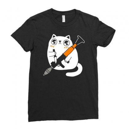 Cuddly Combat Cat Ladies Fitted T-shirt Designed By Marla_arts