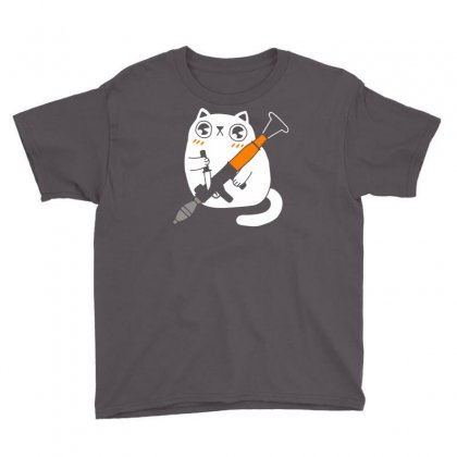 Cuddly Combat Cat Youth Tee Designed By Marla_arts