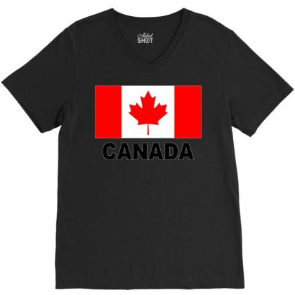 Canada Flag V-neck Tee Designed By Mdk Art