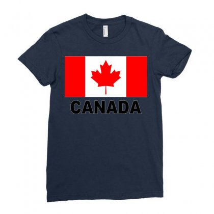 Canada Flag Ladies Fitted T-shirt Designed By Mdk Art