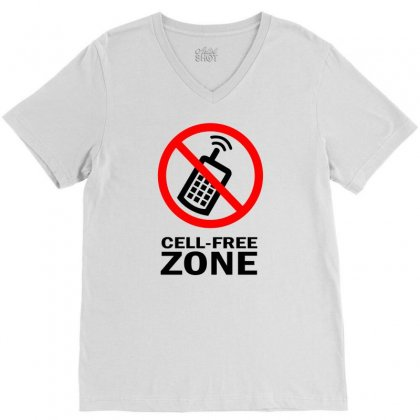 Cell Phone Free Zone V-neck Tee Designed By Bapakdanur