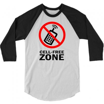 Cell Phone Free Zone 3/4 Sleeve Shirt Designed By Bapakdanur