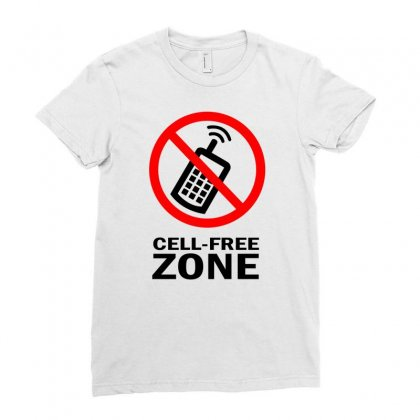 Cell Phone Free Zone Ladies Fitted T-shirt Designed By Bapakdanur