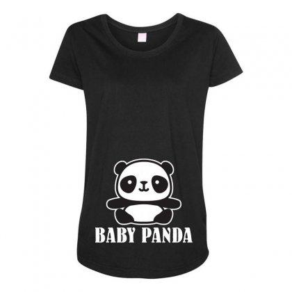 Baby Panda Maternity Scoop Neck T-shirt Designed By Ofutlu