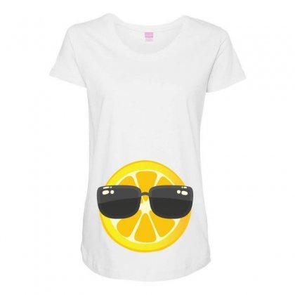 Lemon With Glasses Maternity Scoop Neck T-shirt Designed By Ofutlu
