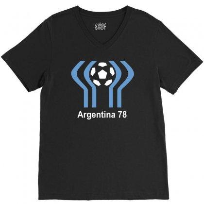 Argentina 78 World Cup 1978 Retro Football V-neck Tee Designed By Mdk Art