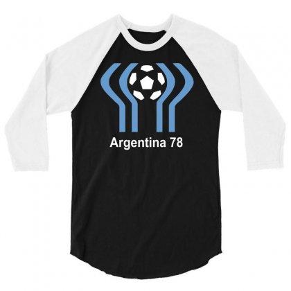 Argentina 78 World Cup 1978 Retro Football 3/4 Sleeve Shirt Designed By Mdk Art