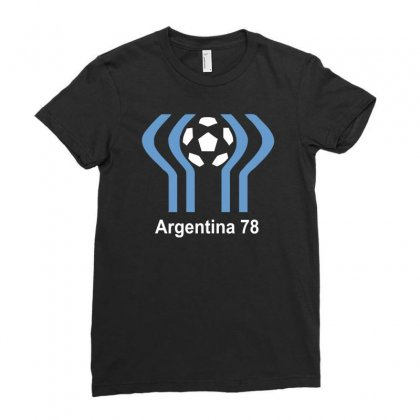 Argentina 78 World Cup 1978 Retro Football Ladies Fitted T-shirt Designed By Mdk Art