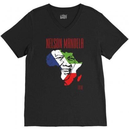 Nelson Mandela 1918 V-neck Tee Designed By Printshirts
