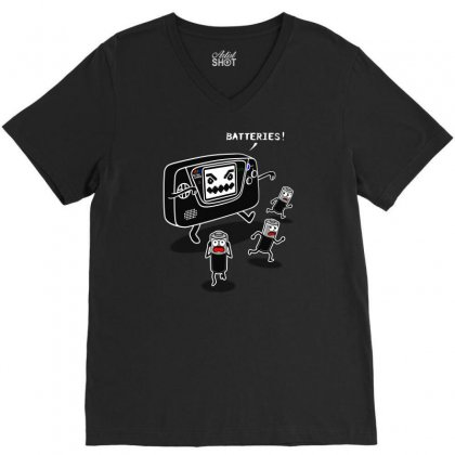 Batteries Nightmare V-neck Tee Designed By Karlangas