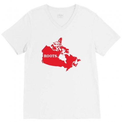 Canada Continent Roots V-neck Tee Designed By Sengul