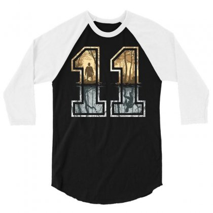 Stranger Things 11 Logo 3/4 Sleeve Shirt Designed By Meza Design