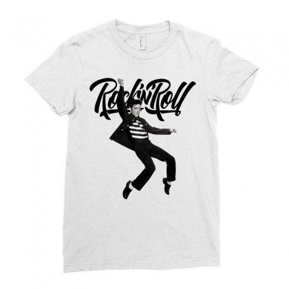 Elvis Presley Rock N Roll Ladies Fitted T-shirt Designed By Sengul