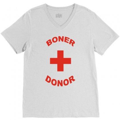 Boner Donor V-neck Tee Designed By Yudyud