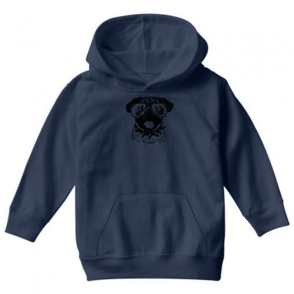 Youth Pug Wearing Glasses Youth Hoodie