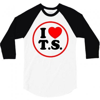 I Love Ts - Taylor Swift Black Logo 3/4 Sleeve Shirt Designed By Meza Design