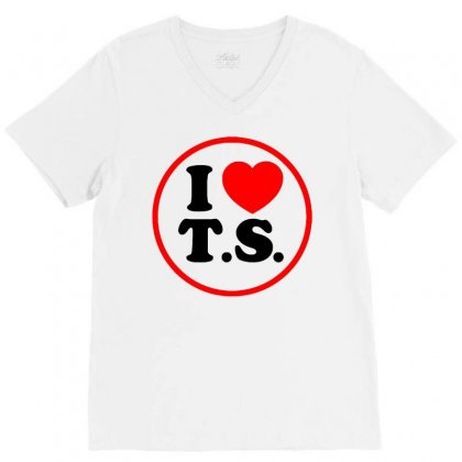 I Love Ts - Taylor Swift Black Logo V-neck Tee Designed By Meza Design
