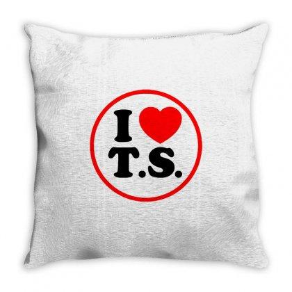 I Love Ts - Taylor Swift Black Logo Throw Pillow Designed By Meza Design