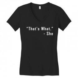 that's what she said quote white logo Women's V-Neck T-Shirt | Artistshot