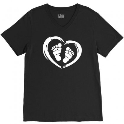 Feet In Heart V-neck Tee Designed By Printshirts