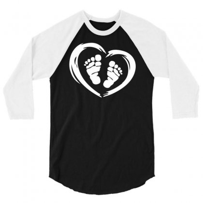 Feet In Heart 3/4 Sleeve Shirt Designed By Printshirts