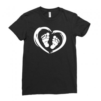 Feet In Heart Ladies Fitted T-shirt Designed By Printshirts