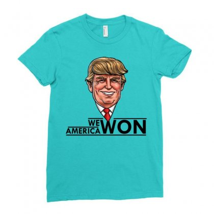 President Trump Ladies Fitted T-shirt Designed By Designbycommodus