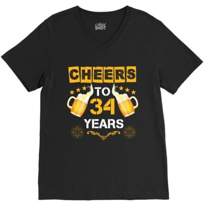 Cheers To 34 Years V-neck Tee Designed By Wizarts