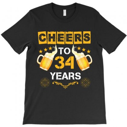 Cheers To 34 Years T-shirt Designed By Wizarts