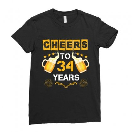 Cheers To 34 Years Ladies Fitted T-shirt Designed By Wizarts