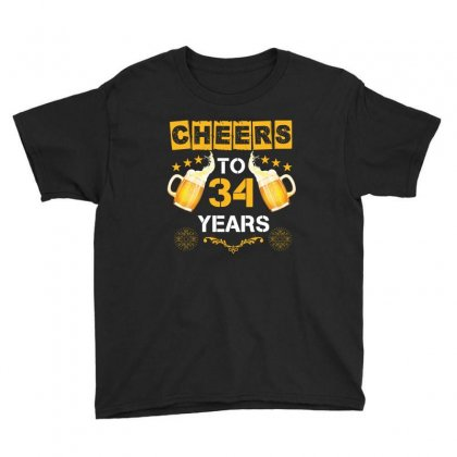 Cheers To 34 Years Youth Tee Designed By Wizarts