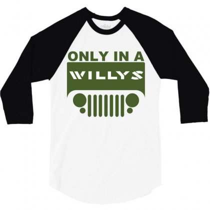 Jeep Willys 3/4 Sleeve Shirt Designed By Ewanhunt
