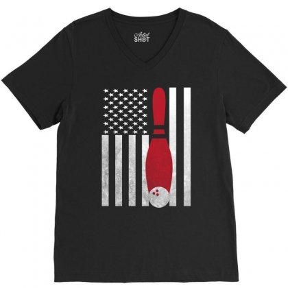 Bowling Bowler - America Usa Flag V-neck Tee Designed By Rardesign