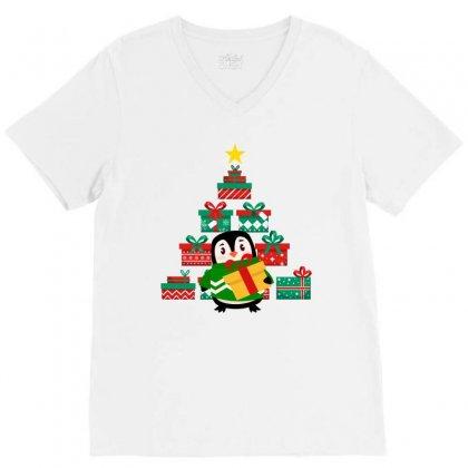 Christmas Penguin V-neck Tee Designed By Zeynepu