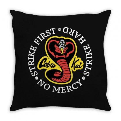Cobra Kai - Strike First - Strike Hard - No Mercy Throw Pillow Designed By Badaudesign