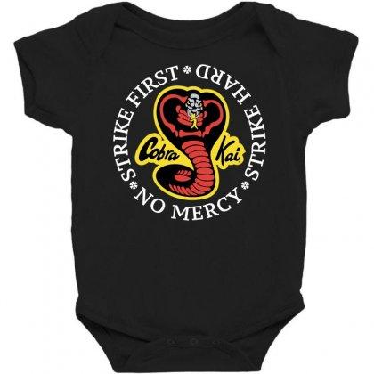 Cobra Kai - Strike First - Strike Hard - No Mercy Baby Bodysuit Designed By Badaudesign