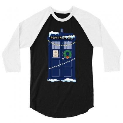 Christmas Doctor Who Police Box Tardis 3/4 Sleeve Shirt Designed By Zeynepu
