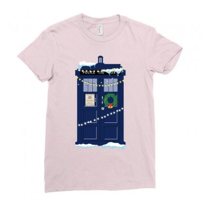 Christmas Doctor Who Police Box Tardis Ladies Fitted T-shirt Designed By Zeynepu