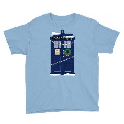 Christmas Doctor Who Police Box Tardis Youth Tee Designed By Zeynepu