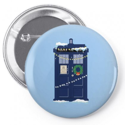 Christmas Doctor Who Police Box Tardis Pin-back Button Designed By Zeynepu