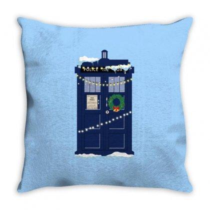 Christmas Doctor Who Police Box Tardis Throw Pillow Designed By Zeynepu