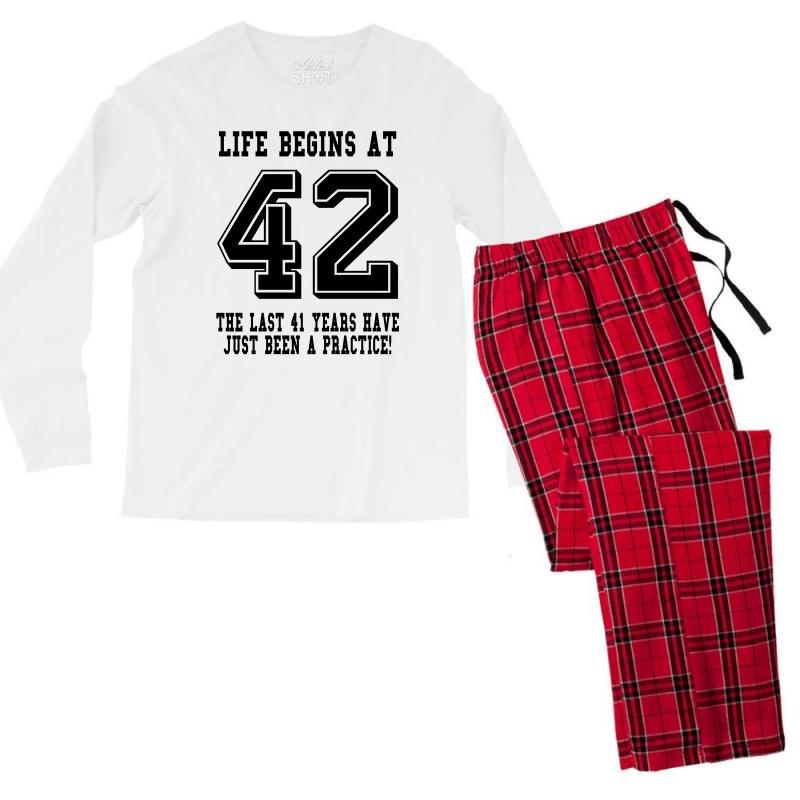 42nd Birthday Life Begins At 42 Men's Long Sleeve Pajama Set   Artistshot