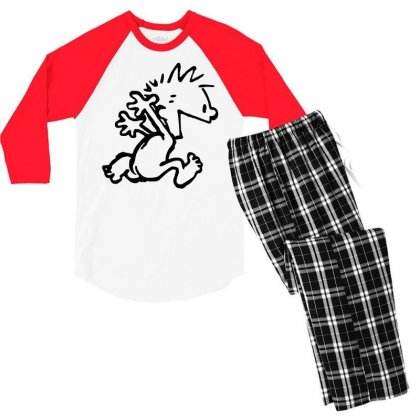 Calvin & Hobbes Comic Running Naked Men's 3/4 Sleeve Pajama Set Designed By Andini