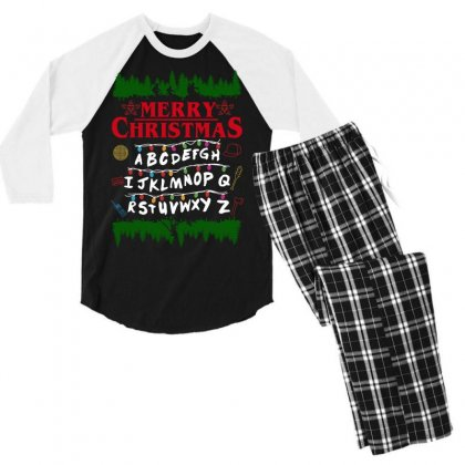 Stranger Things Parody Merry Christmas Men's 3/4 Sleeve Pajama Set Designed By Sengul