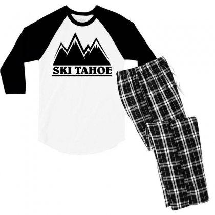 Ski Tahoe Mountains Men's 3/4 Sleeve Pajama Set Designed By Mdk Art