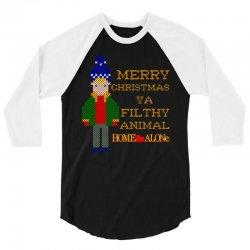 merry christmas ya filthy animal home alone 3/4 Sleeve Shirt   Artistshot